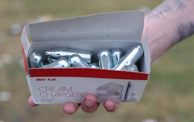 Nitrous oxide canisters. Credit: PA