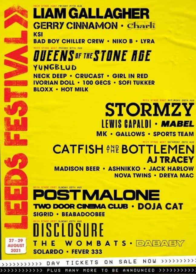 Leeds 2021 line up. Credit: Leeds Festival