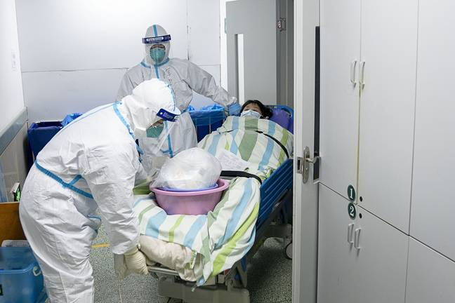 A patient being treated at Zhongnan Hospital, Wuhan. Credit: PA