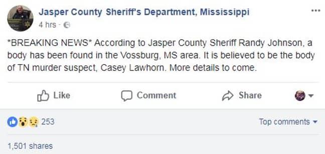 Credit: Facebook/Jasper County Sheriff's Department, Mississippi