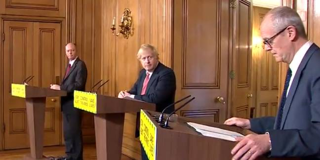 Chris Whitty, Boris Johnson and Patrick Vallance in today's Q&A. Credit: Sky News