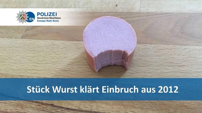 The piece of sausage. Credit: Polizei Nordrhein-Westfalen/Newsflash