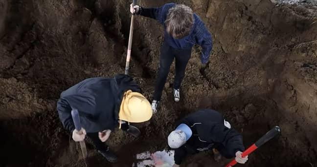 MrBeast was eventually dug out. Credit: YouTube/MrBeast