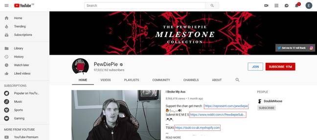 PewDiePie YouTube Channel Has Over 97 Million Followers. Credit: YouTube