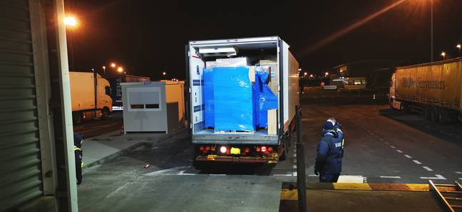 The driver was arrested trying to smuggle cigarettes into the UK. Credit: Newsflash