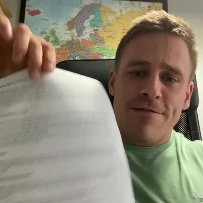 Alex Lowndes and his document to the government. Credit: Instagram