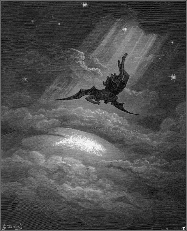 An illustration from John Milton's 'Paradise Lost' shows the descent of Lucifer. Credit: Wikimedia Commons