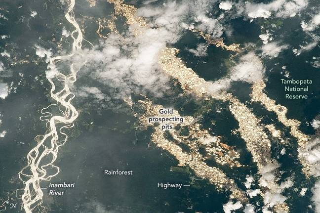 The photo appears to show rivers of gold running through Peru. Credit: NASA