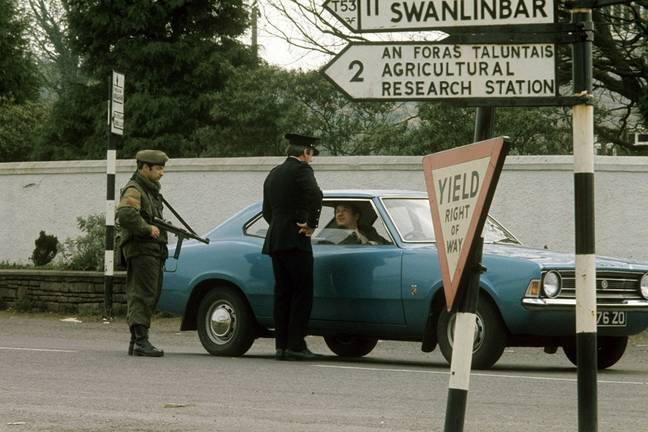 Military check at the Irish border in 1974