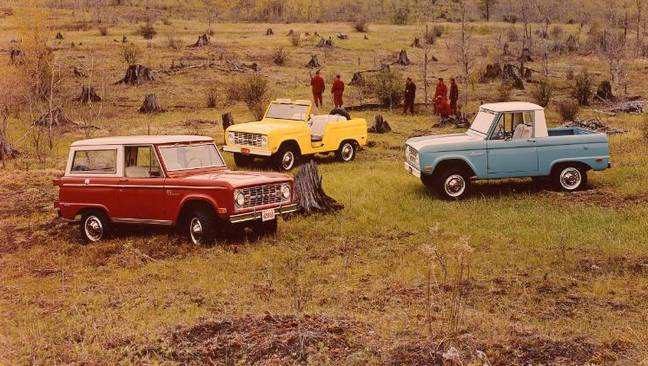 The old school Broncos from the 1960s. Credit: Ford