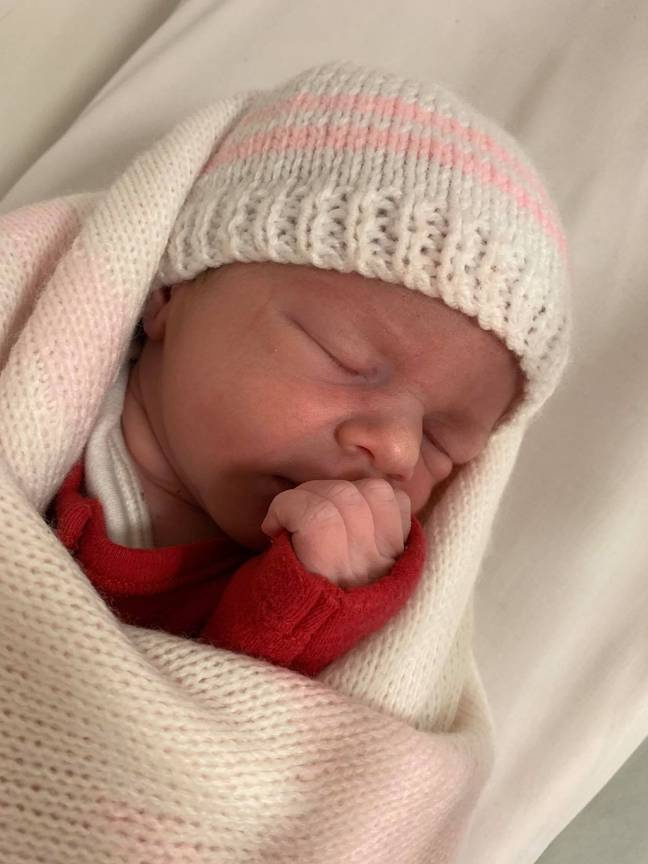 Sienna hours after her unexpected arrival. Credit: Kennedy News and Media