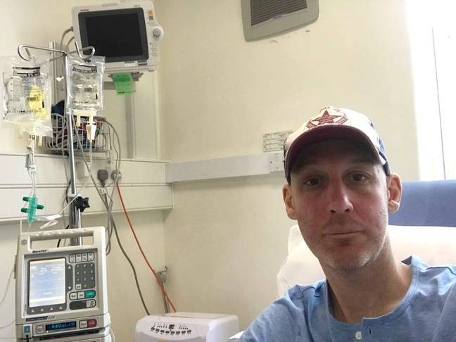 Scott in hospital following the terminal diagnosis. Credit: Caters