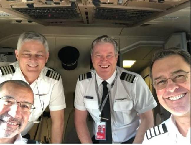 The flight crew on the 20 hour journey. Credit: Virgin Australia