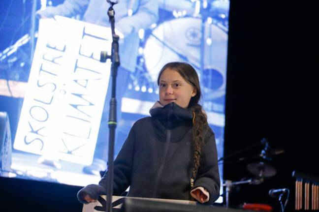 Greta Thunberg speaks at the climate march on the sidelines of the fifth day of the UN Climate Change Conference. Credit: PA