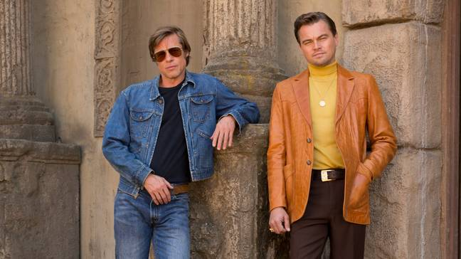 Pitt and Leonardo DiCaprio in Once Upon a Time in Hollywood. Credit: Sony