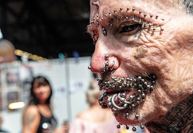 Rolf Buchholz has the world record for most pierced man, with more than 450 piercings. Credit: PA