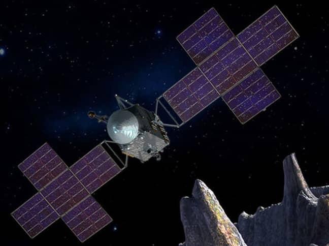 Ein künstlerischer Eindruck des Raumschiffs, das nach Psyche 16 geschickt wird. Credit: Nasa