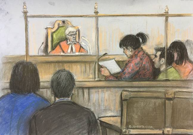 Court sketch of Lisa Rutherford, mother of 17-year-old Chloe Rutherford, reading her victim statement at the Old Bailey yesterday. Credit: PA
