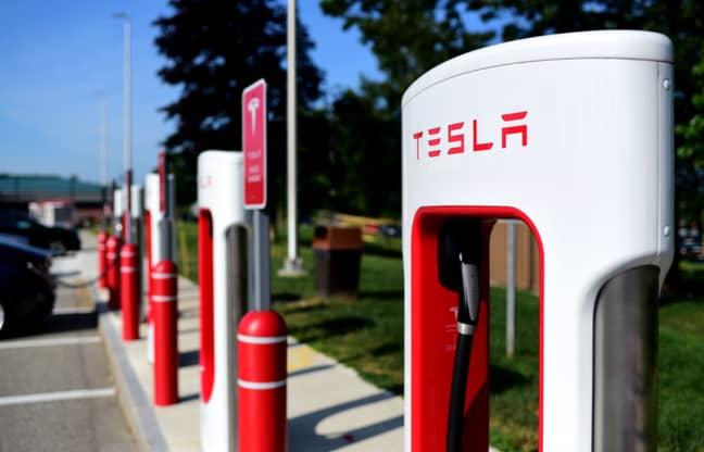 A Tesla charging station. Credit: PA