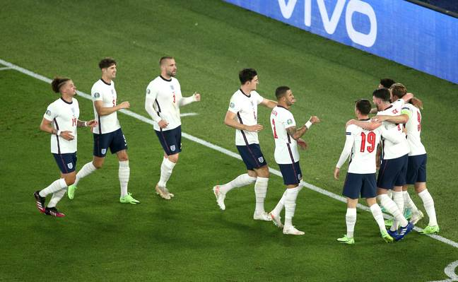 England celebrate after Harry Kane scores their third goal. Credit: PA