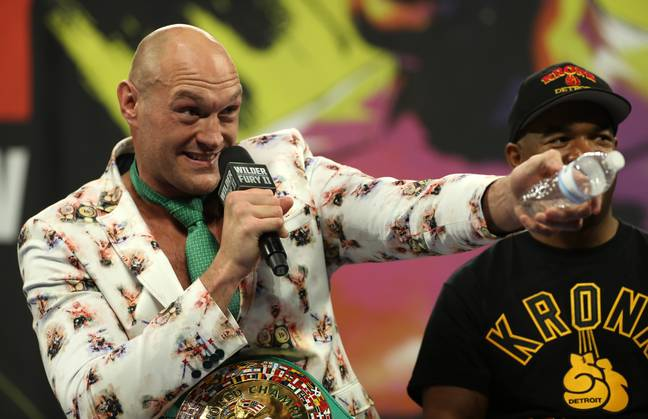 Tyson Fury after defeating Deontay Wilder and becoming WBC heavyweight champion. Credit: PA