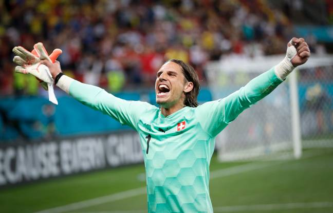Switzerland's goalkeeper Yann Sommer celebrates saving the penalty kick of France's Kylian Mbappe. Credit: PA