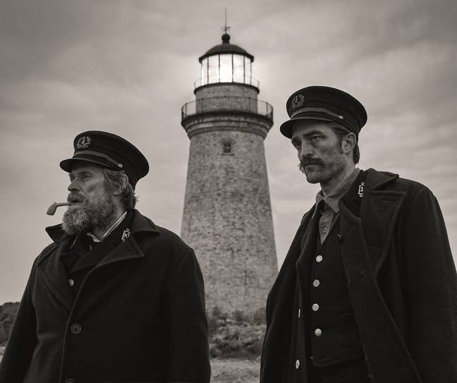 Robert Pattinson and Willem Dafoe in The Lighthouse. Credit: A24