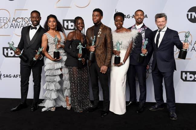 Sterling K. Brown, Angela Bassett, Lupita Nyong'o, Chadwick Boseman, Danai Gurira, Michael B. Jordan, and Andy Serkis from 'Black Panther' at the 2019 SAG Awards. Credit: PA Images