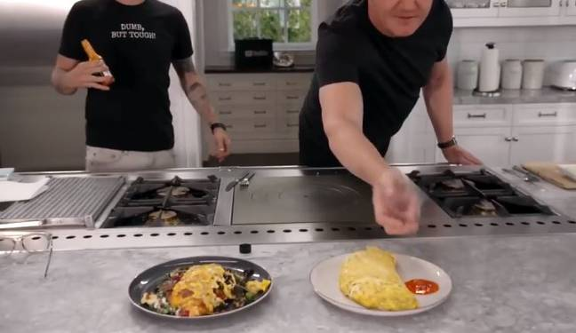 Gordon says the hot sauce is... well hot. Credit: YouTube/Gordon Ramsay