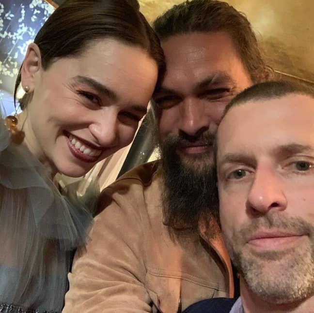 Jason Momoa with Emilia Clarke and Dan Weiss. Credit: Instagram