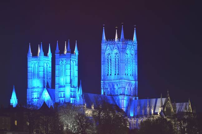 Lincoln Cathedral. Credit: #LightItBlue