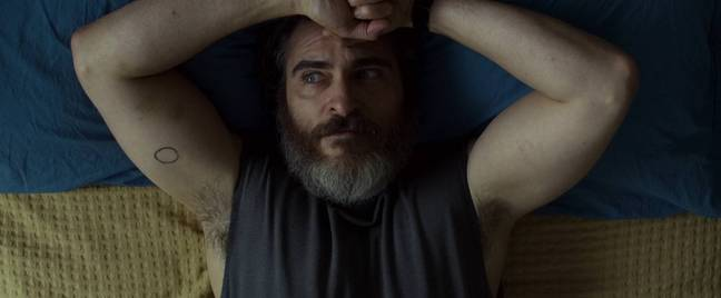 You Were Never Really Here is similar to Joker in many ways - though he is much less scrawny in the former. Credit: StudioCanal