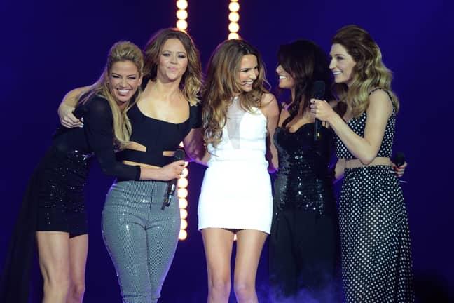 Harding with her former Girls Aloud bandmates. Credit: PA