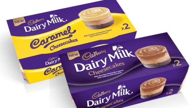 The two Cadbury cheesecake desserts recalled. Credit: Müller