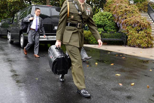 The nuclear football in 2017. Credit: PA