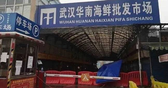 The Huanan Seafood Market in Wuhan has been closed since January 1st 2020. Credit: Weibo