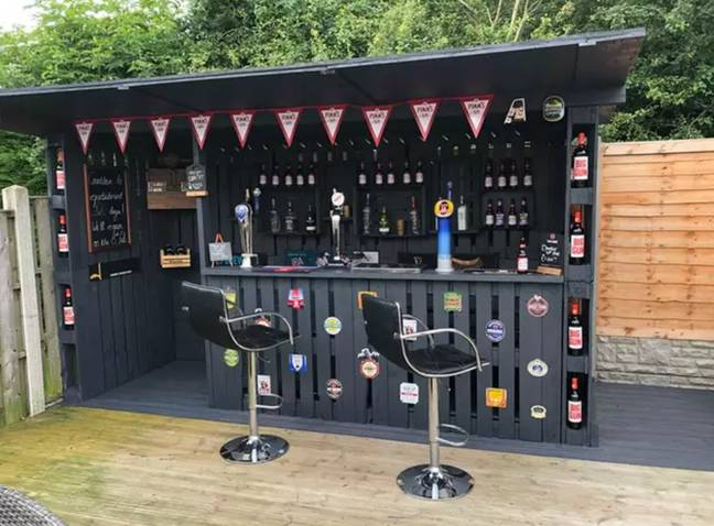 Paul Nowak spent just £90 on his garden bar. Credit: Paul Nowak