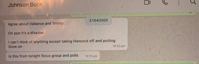 Another exchange appeared to show the PM suggested transferring Hancock's responsibilities to Michael Gove. Credit: Dominic Cummings/Substack