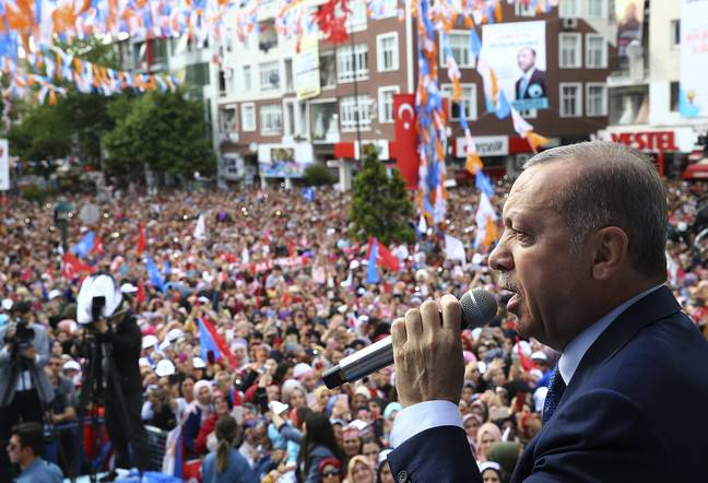 Turkey's President Recep Tayyip Erdogan speaks to people at campaign rally. Credit: PA