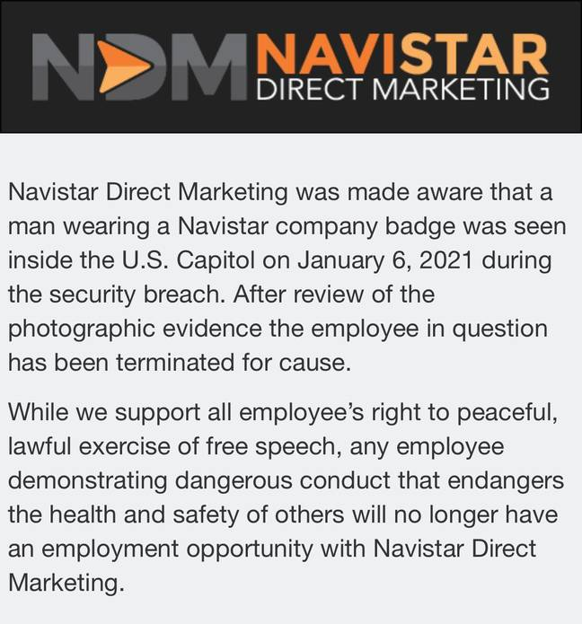 Here's the statement from his employer. Credit: Navistar Direct Marketing