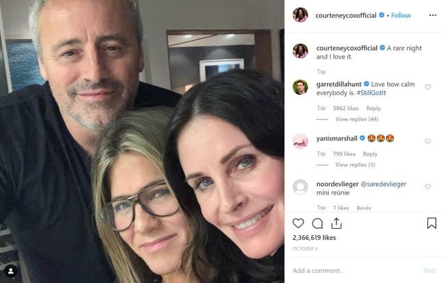 Partial Friends reunions also go down a treat on Instagram. Credit: Instagram/Courteney Cox