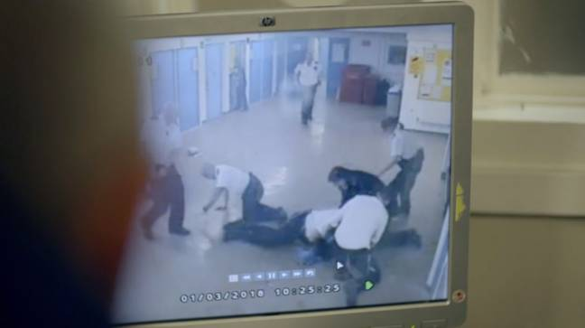 Prison officers review footage of a brawl in the show. Credit: Channel 4/Prison