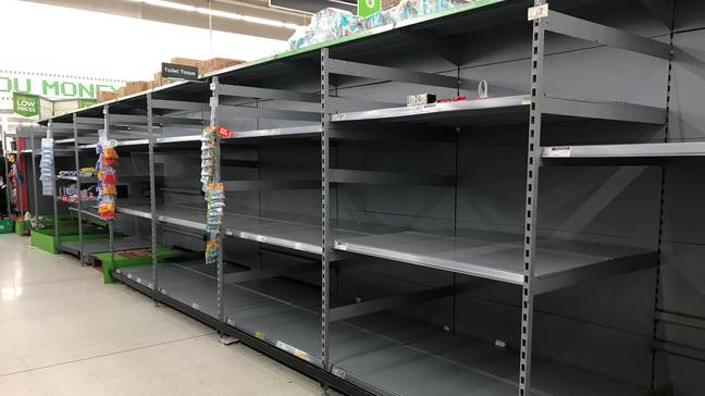 Empty shelves where bog roll used to be