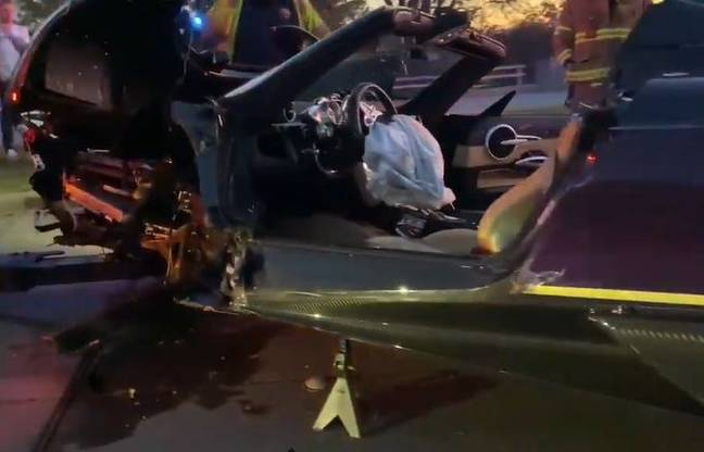 The car was seen in a crumpled heap by the side of the road. Credit: YouTube/GG Exotics