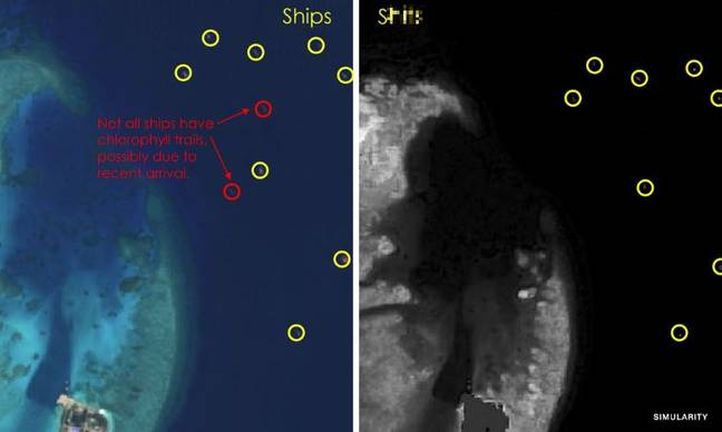 The location of the ships is shown on the left, algea growth from the human waste they dump is shown on the right. Credit: European Space Agency/Simularity  - https 3A 2F 2Fs3 images - Ships Dumping Human Waste In South China Sea And Damage Is Visible From Space