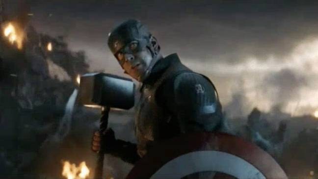 Captain America lifts Thor's hammer. Credit: Marvel