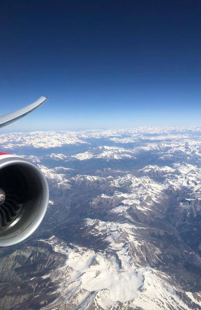 The Virgin Australia flight travelling over the French Alps. Credit: Virgin Australia