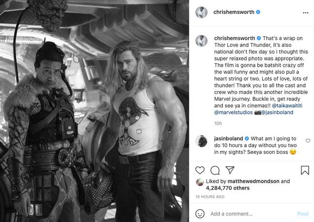 Chris Hemsworth shows off his huge arms in Instagram post as Thor: Love and Thunder finishes filming (Credit: Instagram/chrishemsworth)
