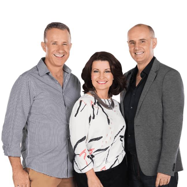 Breakfast radio hosts Laurel, Mark & Gary. Credit: 4KQ