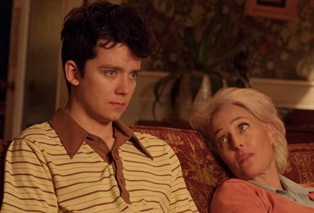 Asa Butterfield and Gillian Anderson as Otis and Jean. Credit: Netflix
